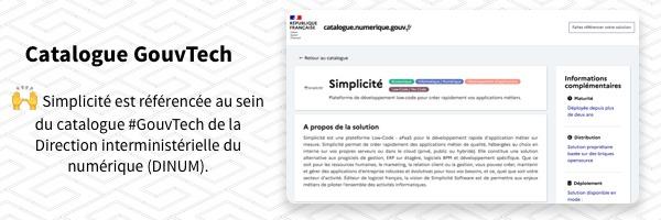 Simplicité intégrée au catalogue GouvTech